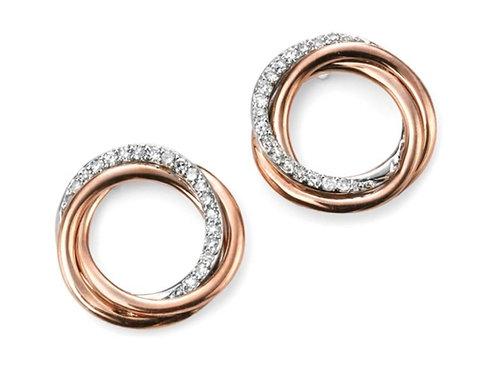 9ct Rose Gold Diamond Circle Earrings GE2030