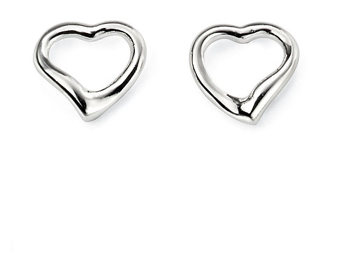 Silver Open Heart Silver Stud Earrings E2102