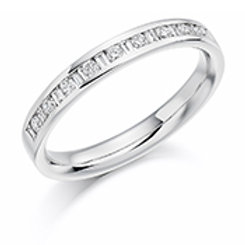 Baguette and round brilliant cut diamonds eternity ring