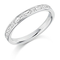 Baguette and princess cut diamond eternity ring