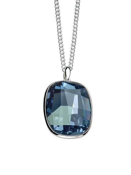 Graphic Facet Denim Blue Crystal Pendant