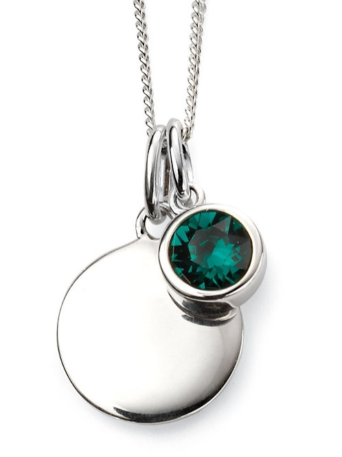 May Birthstone And Engravable Disc Necklace P4594