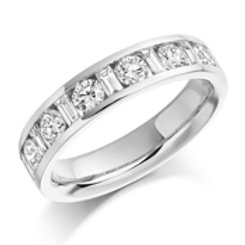 Baguette and round brilliant cut diamond eternity ring