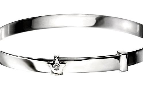 Expandable Diamond Silver Baby Bangle B4780