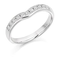 Curved diamond half eternity ring