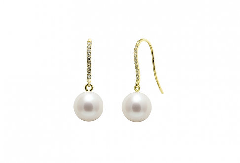 Diamond Set Cultured River Pearl Earring Drops