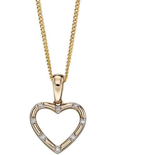 Sweet 9ct Yellow Gold Diamond Heart Pendant GP2079