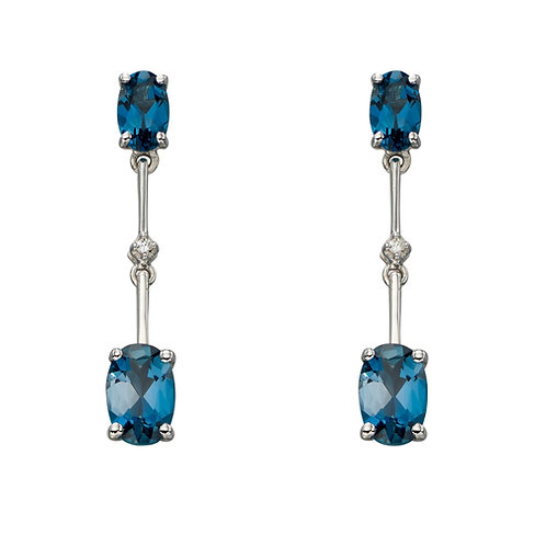 9ct White Gold Topaz Drop Earrings GE2184T