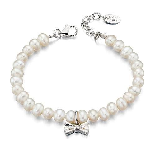 Bow Pearl Silver Bracelet B4890