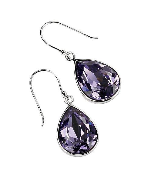 Teardrop Drop Earrings In Tanzanite Crystal