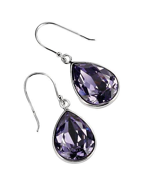 Silver Teardrop Drop Earrings In Tanzanite Crystal E3347M