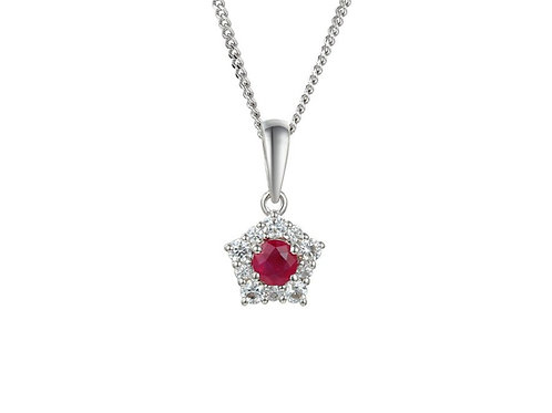 Sterling Silver Classico Ruby Necklace 9212R-CZ
