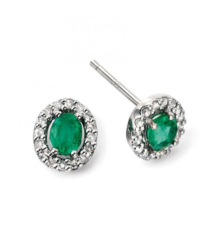 9ct White Gold Diamond and Emerald Earrings