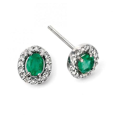 9ct White Gold Diamond Emerald Earrings GE943G