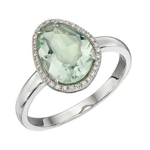 Green Fluorite Irregular Ring In  White Gold