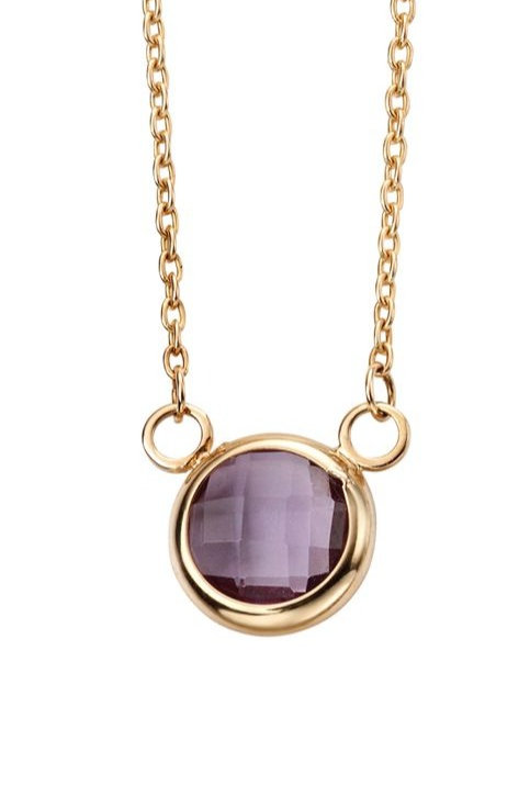 9ct Yellow Gold Amethyst Necklace GN272M