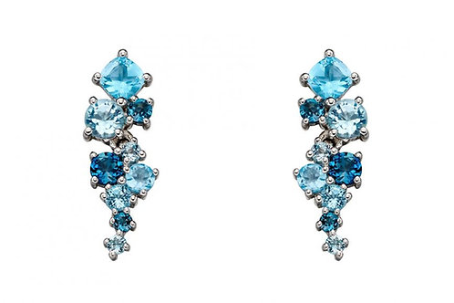 9ct White Gold Blue Topaz Drop Earrings GE2225T