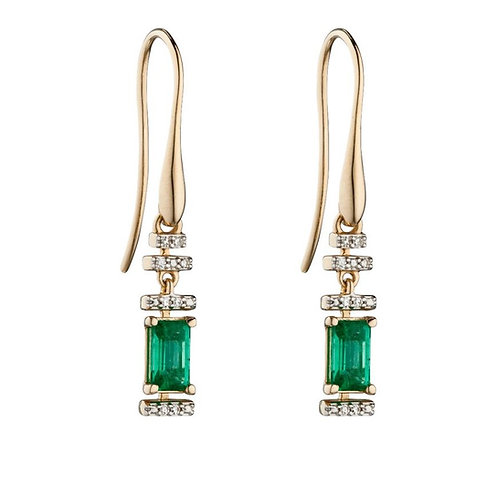 Emerald And Diamond Deco Earrings