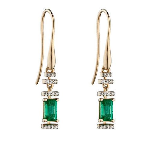 9ct Yellow Gold Emerald And Diamond Deco Earrings GE2304G