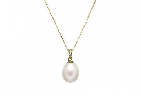 Cultured River Pearl & Diamond Pendant