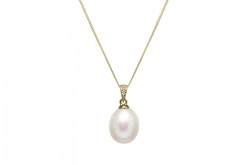 Cultured River Pearl & Diamond Pendant