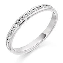 channel set round brilliant cut half eternity ring