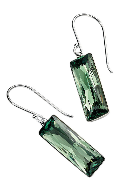 Silver Rectangle Drop Earrings Green Crystal E4578G