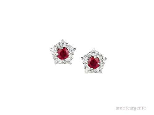 Classico Silver Ruby Earrings 9211SILCZ/R