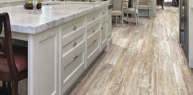 A tile kitchen floor that looks like wood and Clean-Rite can clean this too!