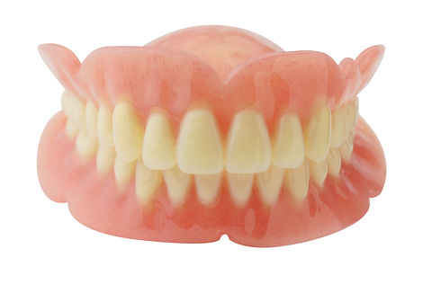 Denture  with clipping path on white bac