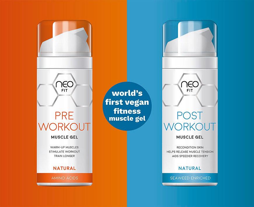NeoFit vegan pre workout muscle gel packaging
