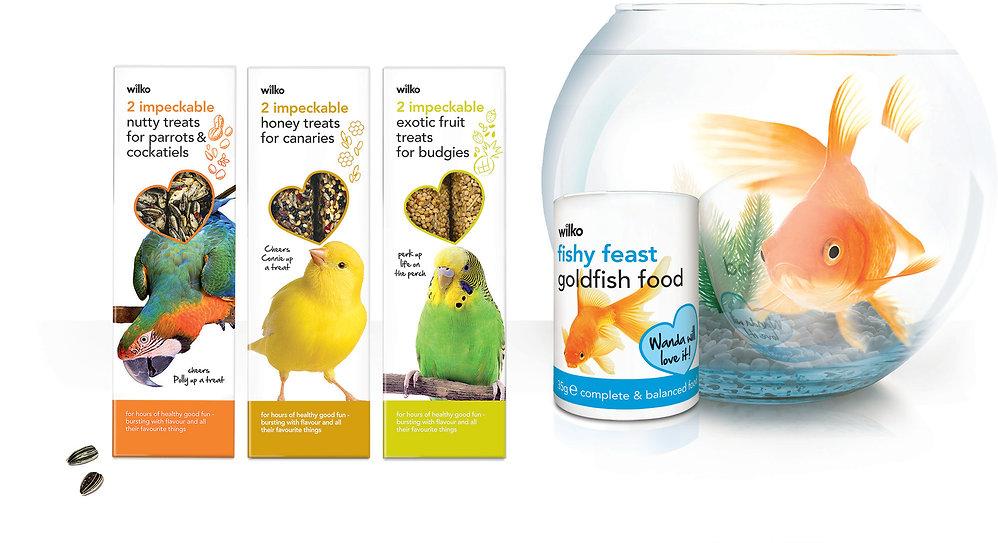 Wilko bird and fish food packaging