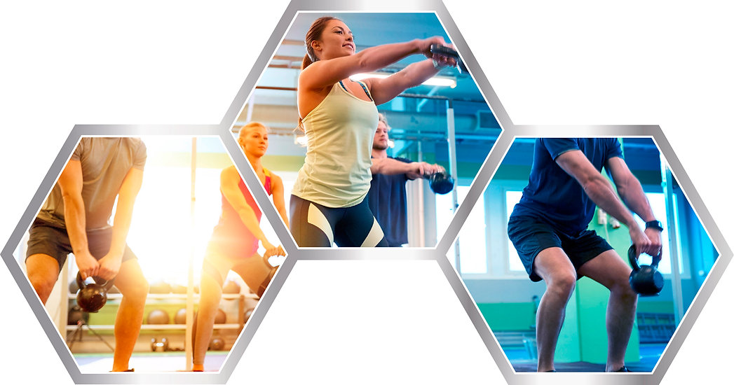 People working out in neofit logo hexagon shape