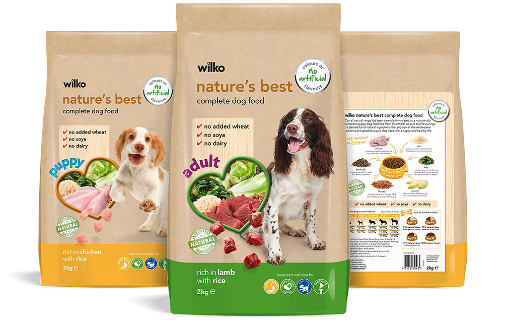 Wilko's Nature's Best dog food packaging design