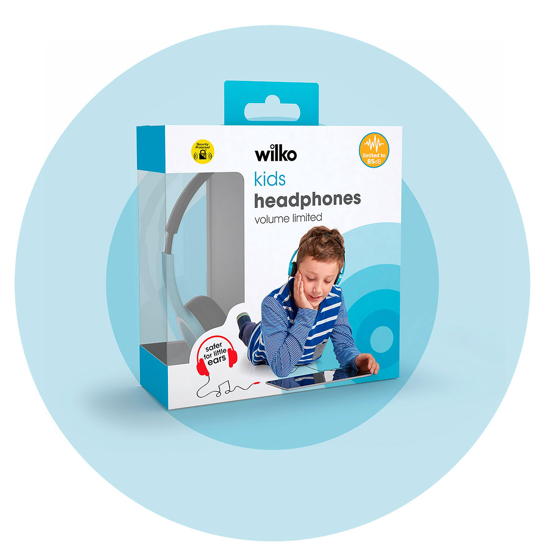 Wilko kids volume limited headphones packaging on blue target
