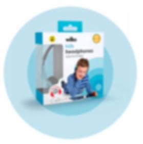 Wilko kids volume limited headphones packaging on blue target