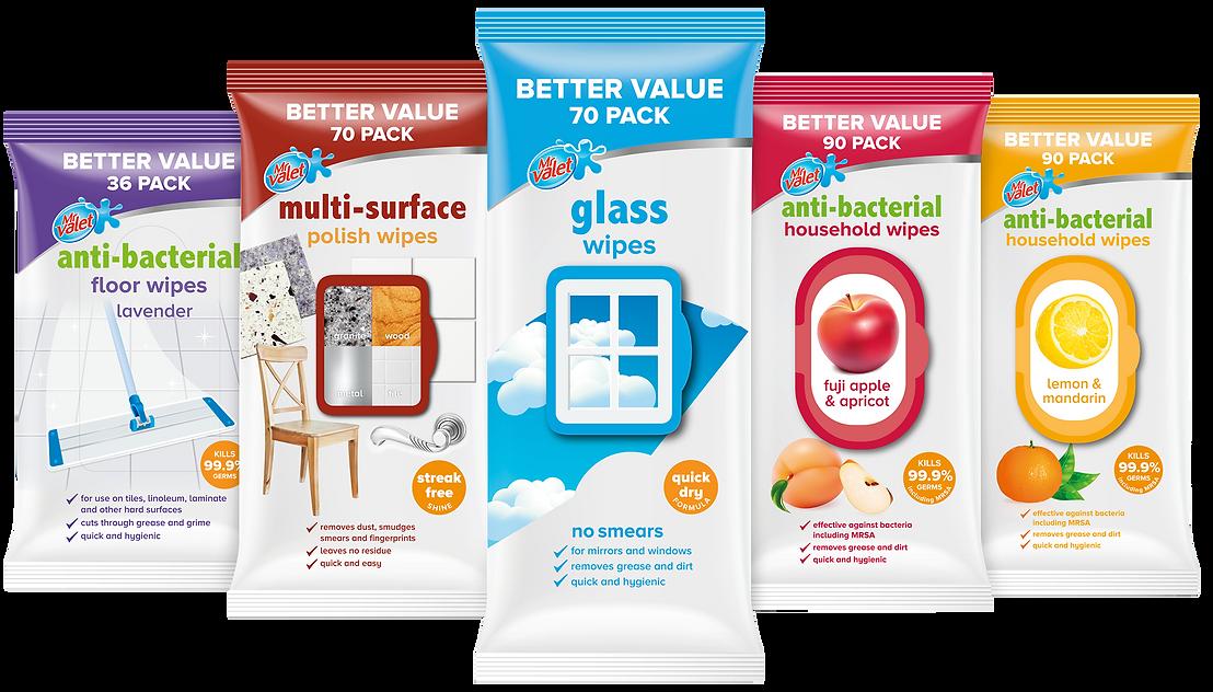 Sapro Mr Valet household wet wip range packaging