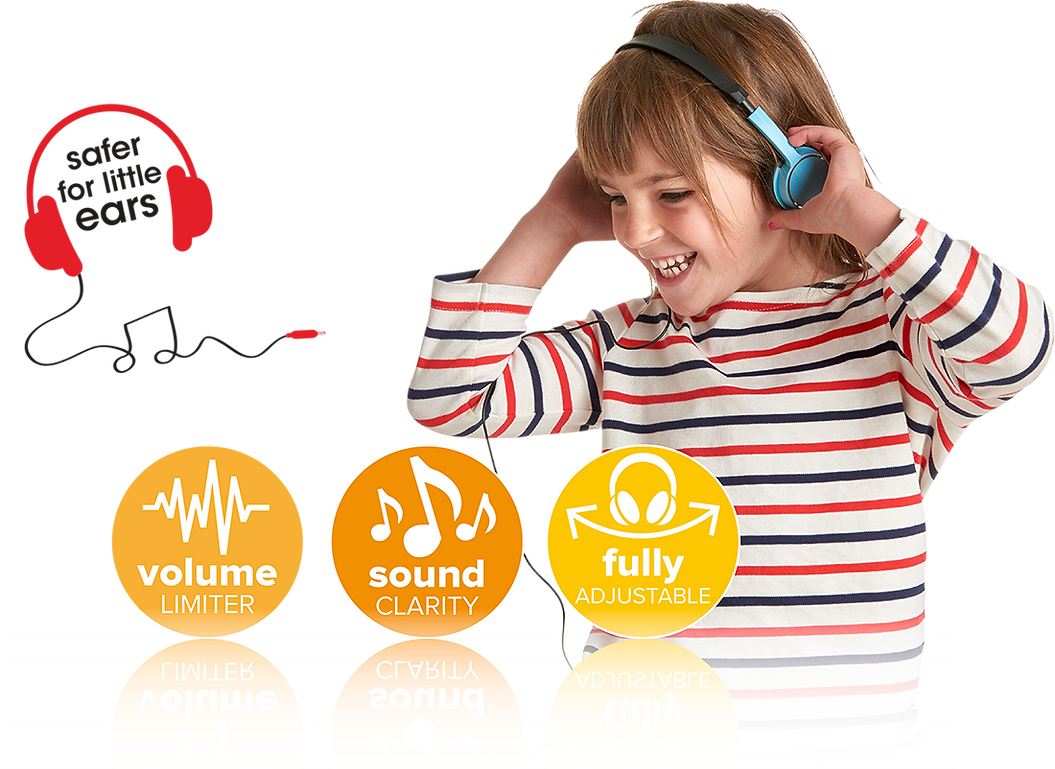 Wilko kid safe headphone icons and girl listening to music