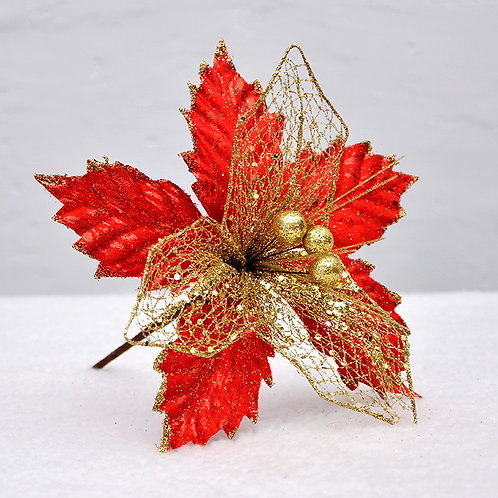 "6 PCS Poinsettia for Christmas Tree Decorations 9"""