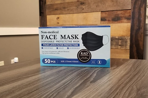 50 Pcs DISPOSABLE BLACK FACE MASK 4-PLY ANTI-DUST