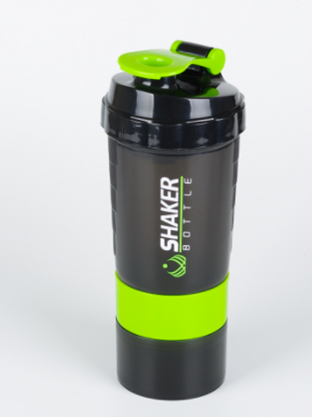 Protein Shaker Bottle - Sports Water Bottle - Non Slip 3 Layer Twist Off 3oz Cup