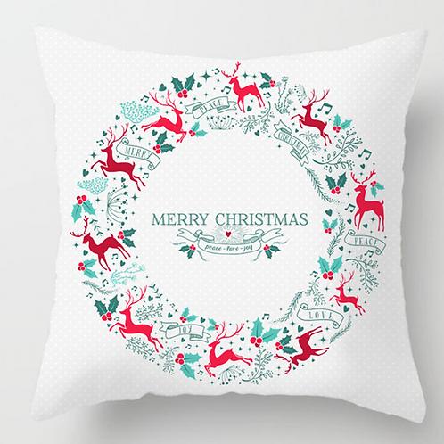 Christmas Pillow Cover 17x17,Square Christmas Decorative Cotton