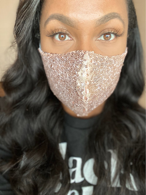 Rose gold sequin mask