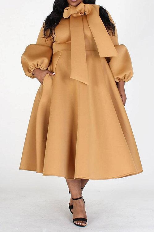Camel bow dress ( Plus Size)
