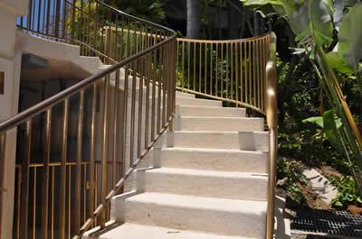 Bronze radius railings