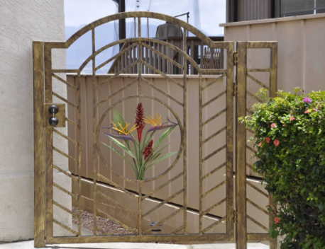 Aluminum entry gate with artwork