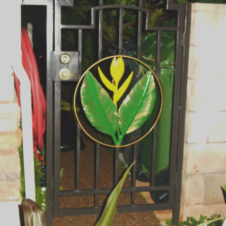 Galvanized entry gate with artwork