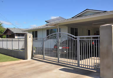 Galvanized driveway gate and fence