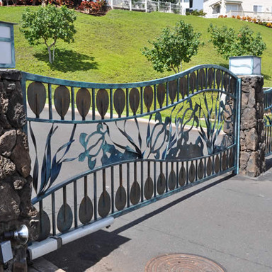 Automated galvanized driveway gates for a gated community