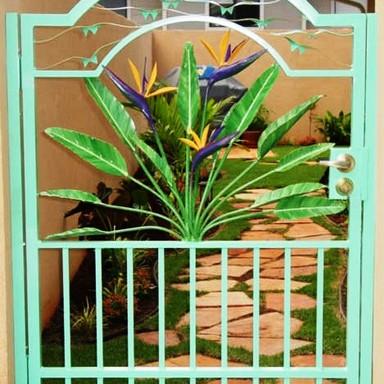 Aluminum garden gates with artwork